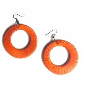 Jewelry - ORANGE LIGHTWEIGHT LARGE HOOP EARRINGS!